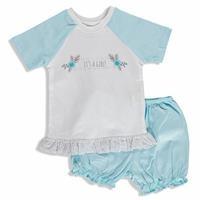 Summer Baby Beautiful Flower Cotton Short Sleeve Crew Neck T-shirt Short 2 pcs Set