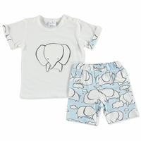 Summer Baby Boy Tiny Elephant Short Sleeve T-shirt Short 2 pcs Set