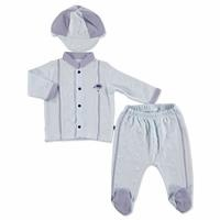 Summer Baby Boy Sailor Bear Poplin Snapsuit Hat Pants 3 pcs Set