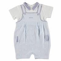 Summer Baby Boy Sailor Bear Poplin Dungarees Sweatshirt 2 pcs Set