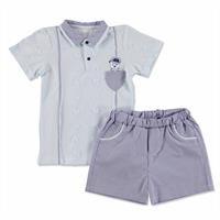 Summer Baby Boy Sailor Bear Poplin Short Sleeve T-shirt Short 2 pcs Set