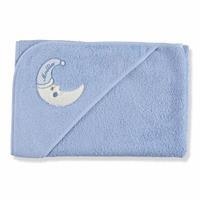 Moon Patterned Baby Towel Blue