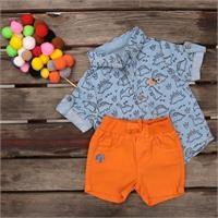 Dino Printed Short Sleeve Baby Shirt Short Set