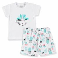 Kaktüs Baskılı Kısa Kol Bebek Pijama Takımı