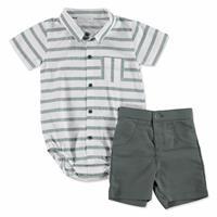 Yaz Erkek Bebek Yeşil Poplin Polo Yaka 2li Gömlek Body -Şort Takım