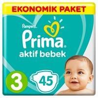 Bebek Bezi Aktif Bebek 3 Beden Midi Ekonomik Paket 6-10 kg 45 Adet