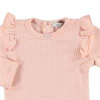 Baby Organic Pink Reported Rib Long Sleeve Bodysuit