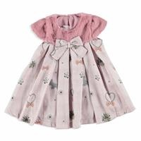 Winter Bowtie Baby Girl Plush Detail Dress