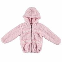 Kış Tül Detaylı Kız Bebek Kapüşonlu Pelüş Mont