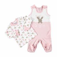 Kış Kız Bebek Bebek Tavşan Tema Salopet Tulum Sweatshirt 2li Takım