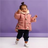 Baby Girl Flower Patterned Water Repellent Coat