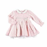 Kız Bebek Penye Astarlı Puanlı Bebe Yaka Elbise
