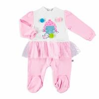 Bow Tie Interlock Ruffle Detailed Footed Baby Romper