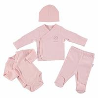 Heart Organic Premature Newborn Hospital Pack 4 pcs (Baby Girl Clothes Toddler Infant Set)