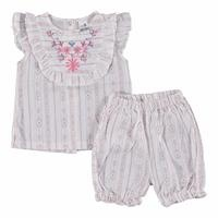 Flower Embroidered Texture Baby Girl Shirt Short Set