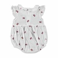 Bow Printed Baby Girl Short Romper