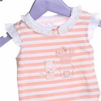Baby Girl Pink Ruffle Neck Short Sleeve Bodysuit