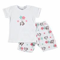 Panda Baskılı Kısa Kol Kız Bebek Pijama Takımı