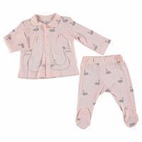 Bebek Kuğu Önden Çıtçıtlı Patikli Pijama Takımı