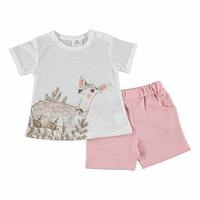 Summer Baby Girl Gazelle Printed Tshirt Short Set