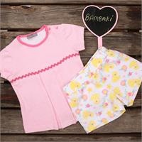 Summer Baby Girl Toy Duck Single Jersey Blouse-Shorts