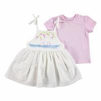 Summer Baby Girl Dot Dot Flower Dress T-shirt Set
