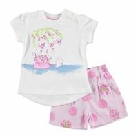 Summer Baby Girl Dot Dot Flower T-shirt Short Set