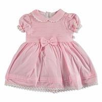 Summer Baby Girl Poplin Short Sleeve Round Neck Dress