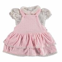 Cue Bow Baby Girl Interlock Short Sleeve Dungarees Set