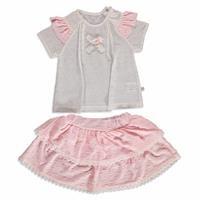 Fiyonklu Kız Bebek İnterlok Kısa Kol Çıtçıtlı Yaka 2li Sweatshirt-Pantolon