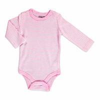 Baby Striped Ribana Long Sleeve Snap Collar Single Body