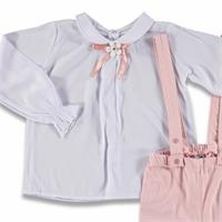 Bow Collar Detail Shirt Pants Set 2 pcs