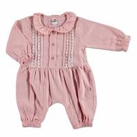 Baby Lacy Detail Button Footless Romper