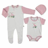 Yaz Kız Bebek Mummy Flamingo 3lü Tulum-Body-Şapka