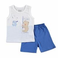 Summer Baby Happy Music Cotton Footless Crew Neck Sleeveless Top Short 2 pcs Set