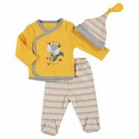Kind Fox Baby Boy Bodysuit Hat Footed Pants Set