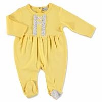 Yellow Flower Theme Baby Footed Romper