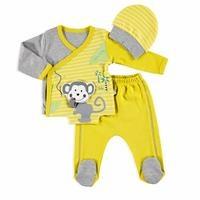 Bebek Sevimli Maymun Zıbın Patikli Alt Şapka 3lü Takım