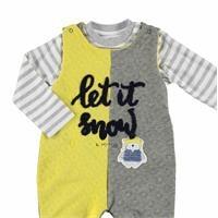 Bebek Kaykaylı Ayı Kapitone/İnterlok Salopet Sweatshirt 2Li Takım
