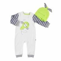 Helicopter Baby Footless Zippered Romper Hat 2 pcs Set