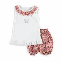 Kız Bebek Minik Çiçekli Bluz Dokuma Şort Takım