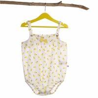 Kız Bebek Love Limon Baskılı Askılı Dokuma Body