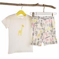 Zürafa Baskılı Kısa Kol Kız Bebek Pijama Takımı