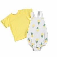 Erkek Bebek Ananas Tema Body Salopet T-Shirt Takım