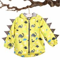 Baby Boy Dino Printed Water Repellent Children Raincoat