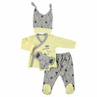 Elephant Printed Baby Boy Bodysuit Hat Set