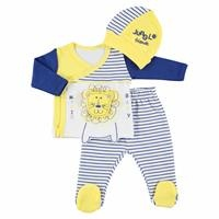 Striped Baby Boy Bodysuit Footed Trouser Hat Set