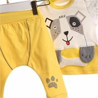 Baby Boy Interlock 3D Detailed Sweatshirt Trouser