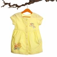 Button Detailed Texture Baby Girl Dress