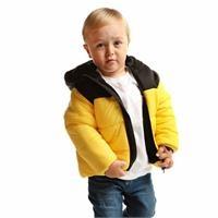 Kış Erkek Bebek Basic İki Renkli Kapüşonlu Mont